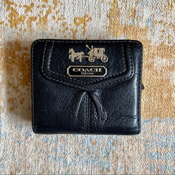 Black leather small COACH snap wallet